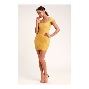 Lilian Yellow Lace Mini Dress